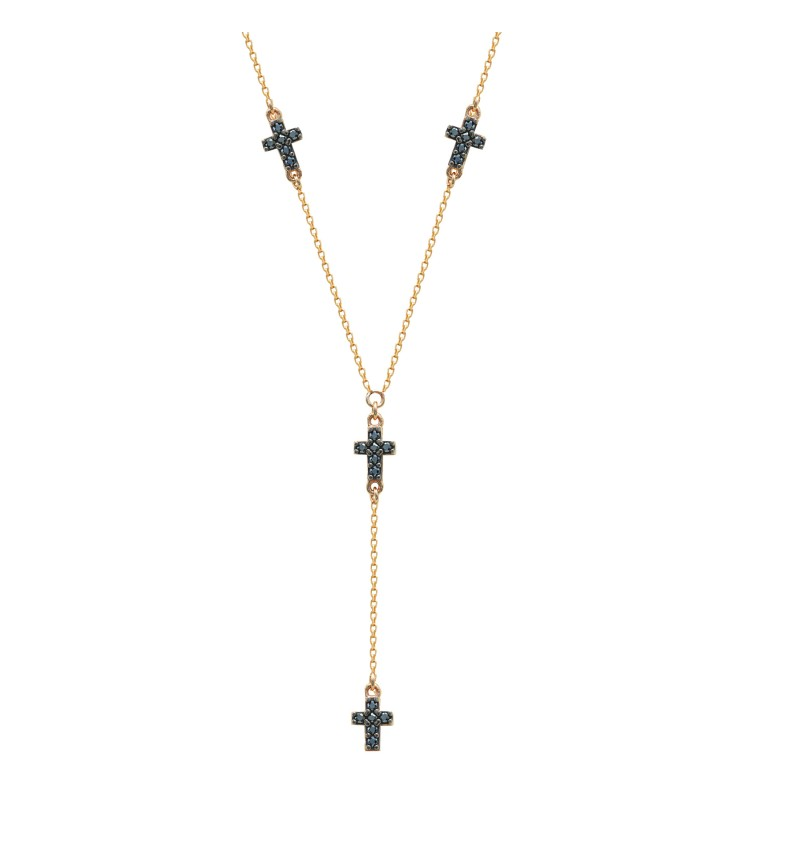 Necklace double faced cross
