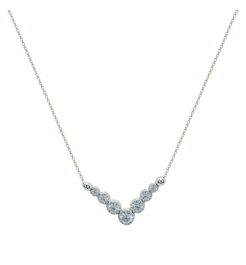Necklace white gold zircon