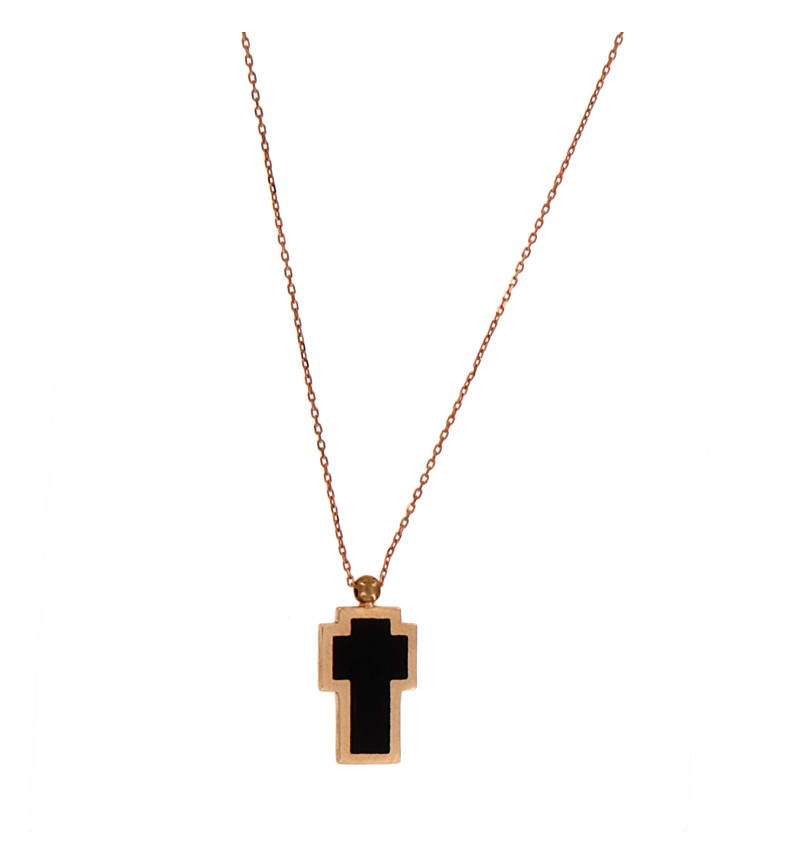 NECKLACE  ROSE BLACK CROSS