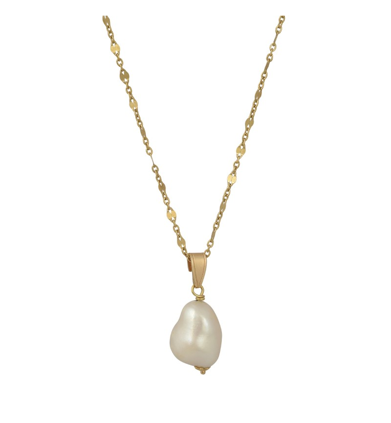 NECKLACE GOLD SHINY PEARL