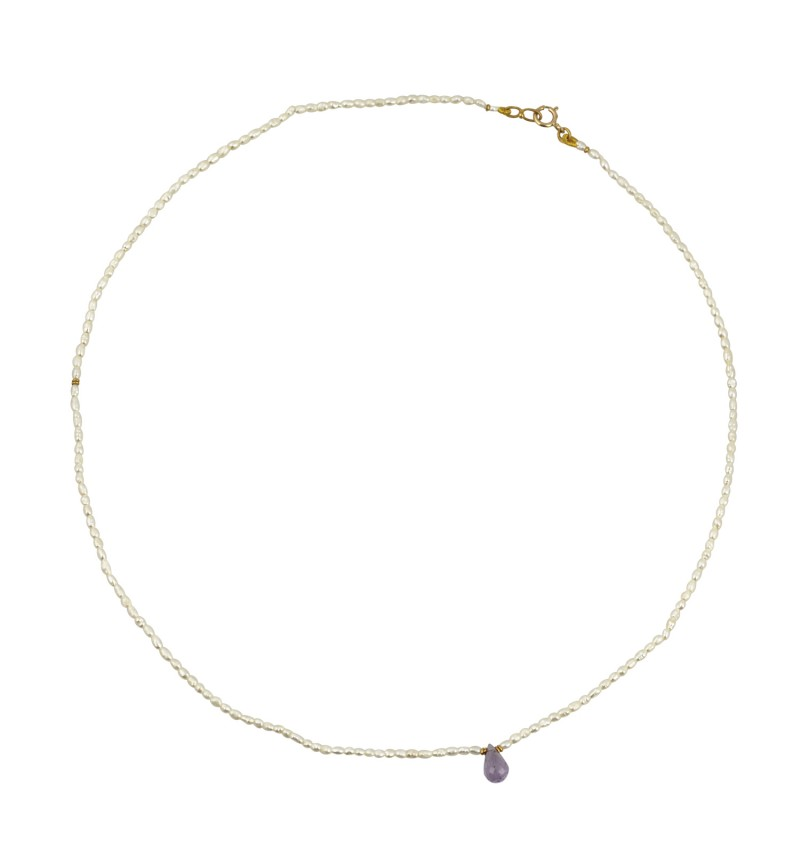 NECKLACE GOLD PEARL AMETHYST