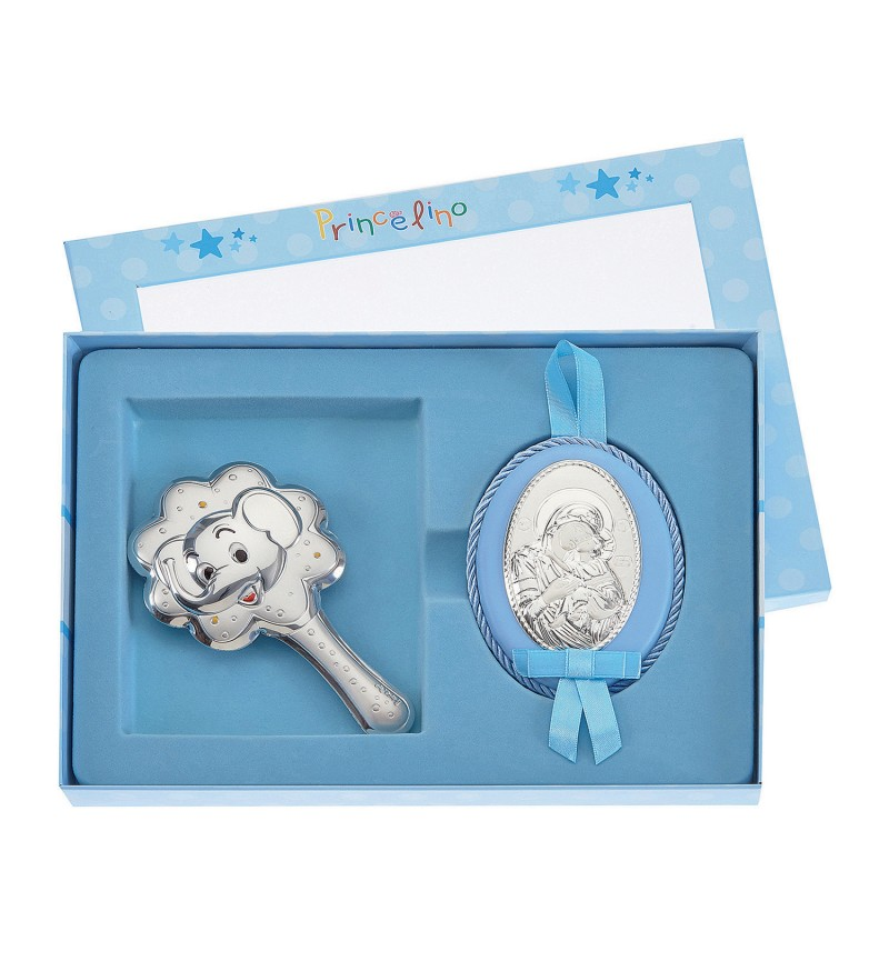 SILVER RATTLE-IMAGE FOR BOY MB-S085-1C