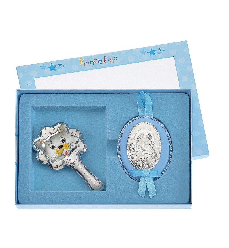 SILVER RATTLE-IMAGE FOR BOY MB-S086-1C