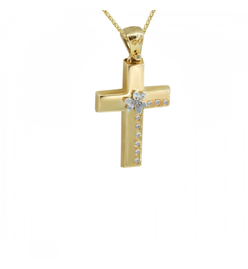 Gold cross with zircon