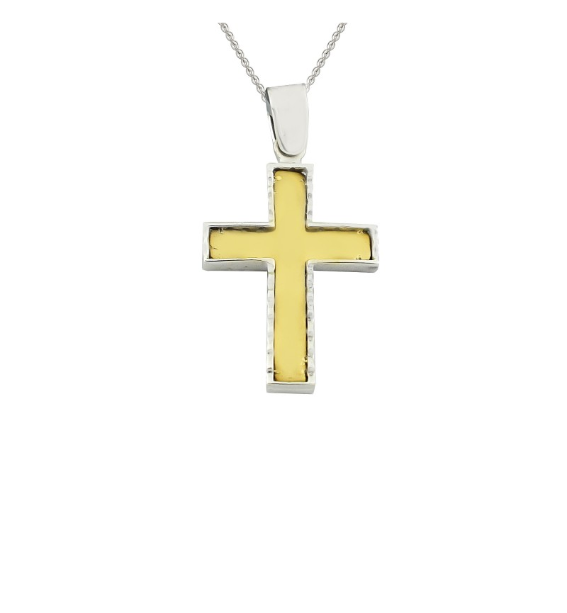 Double face gold cross