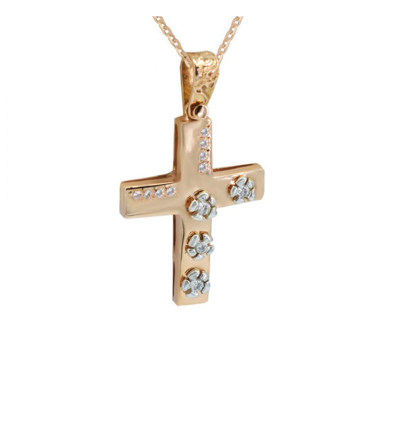 Gold cross with flowers
