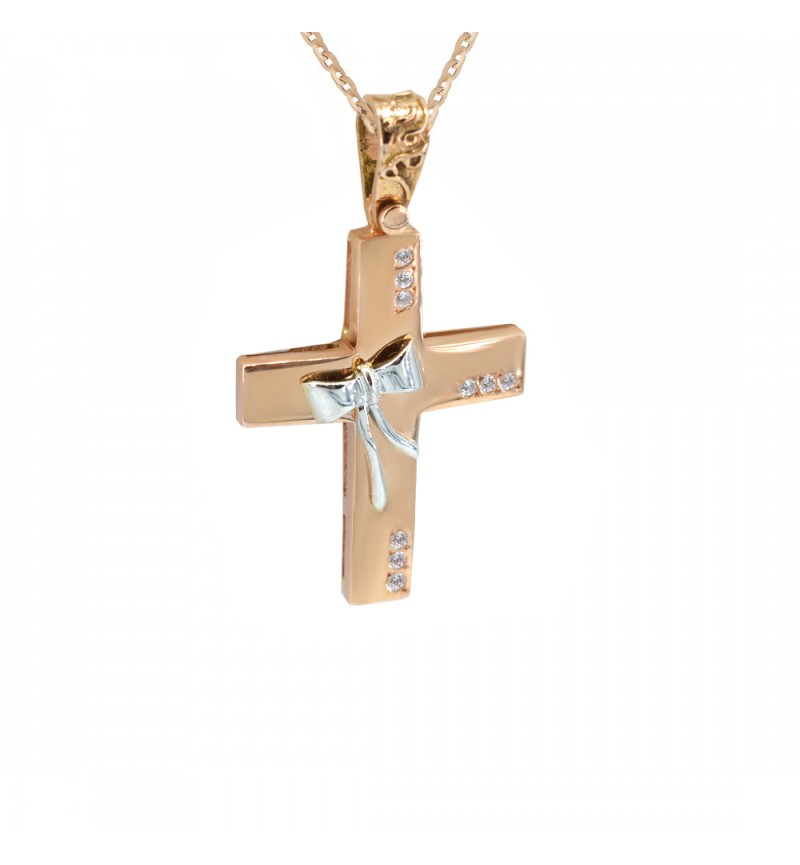 Gold cross with bow