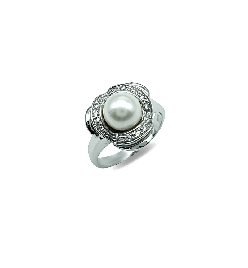 Ring white gold pearl and zircon