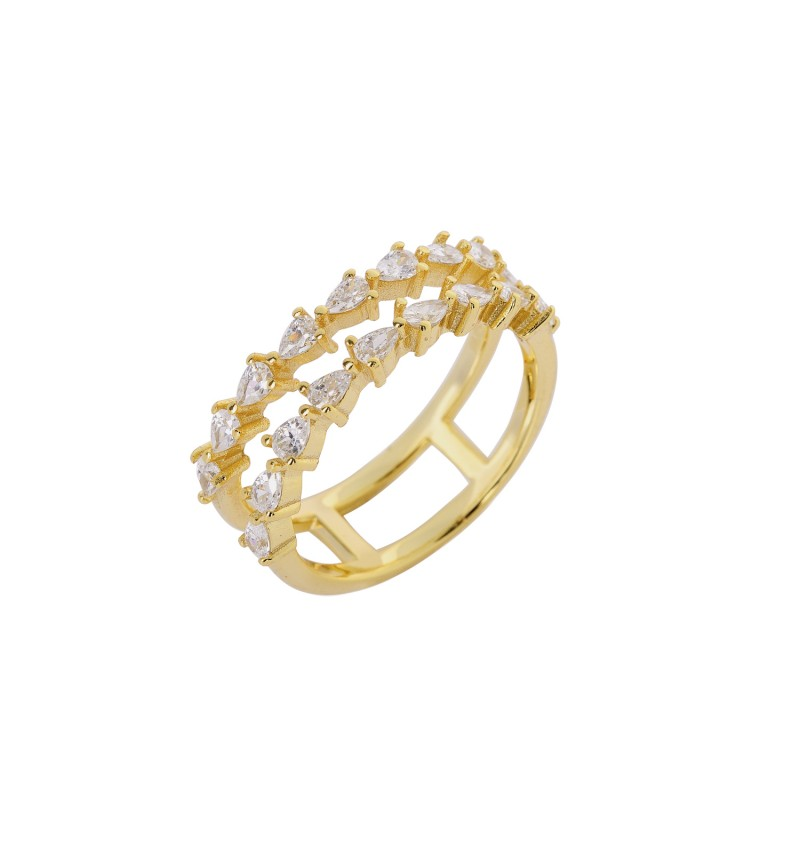 RING  GOLD DOUBLE ROW OF ZIRCONS