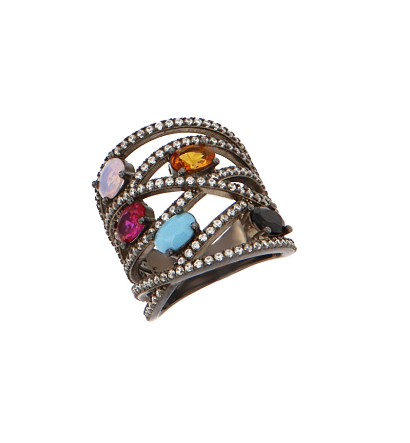 RING BLACK AND COLORFUL STONES