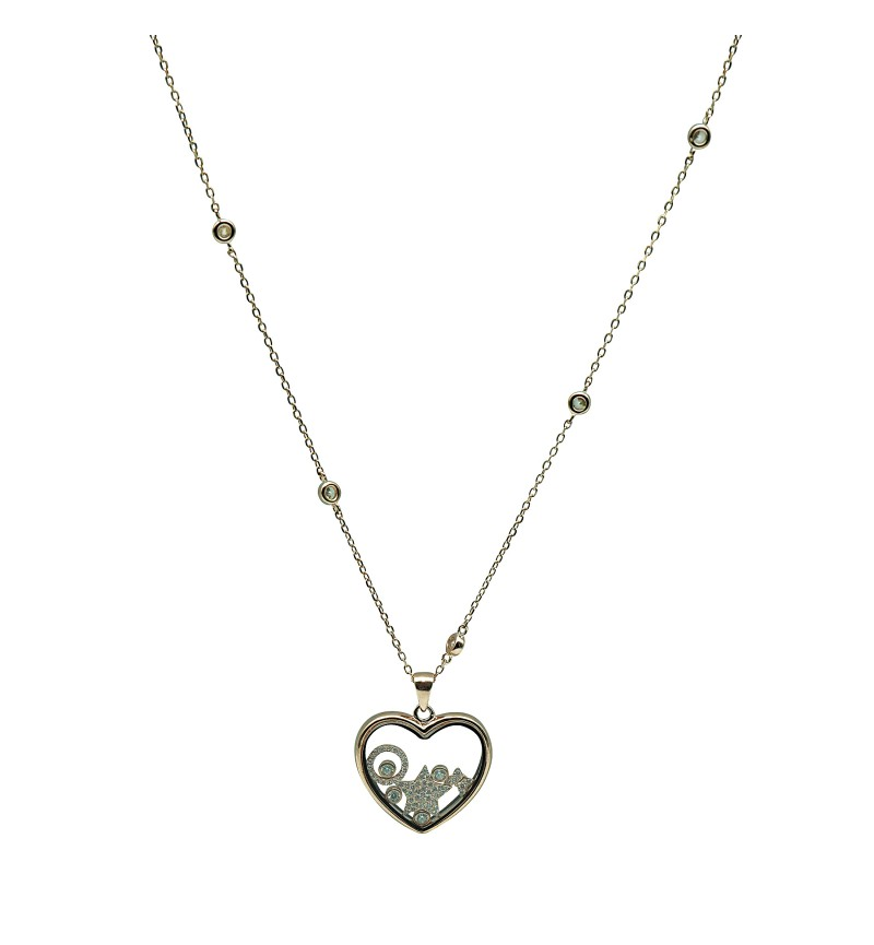 Necklace heart star zircon