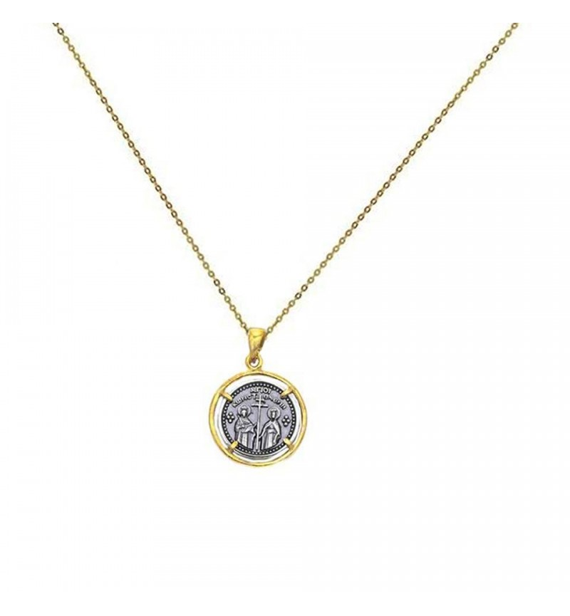 COIN NECKLACE BLACK & GOLD ΙC-XC-NIKA