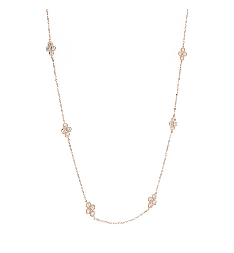 NECKLACE BUBBLES CROSS ZIRCONS