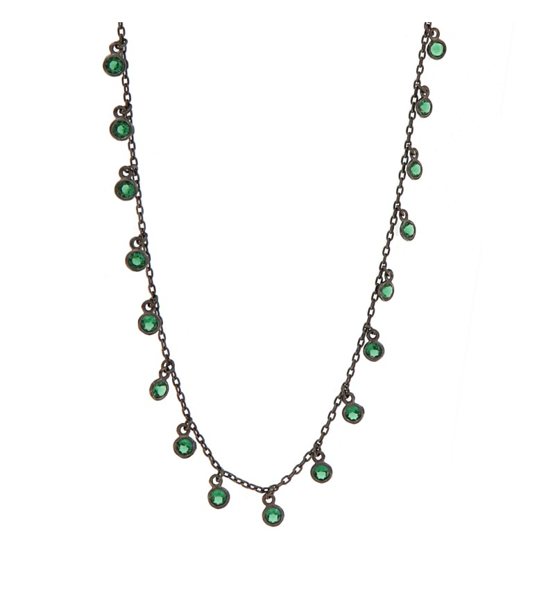 NECKLACE DEEP GREEN STONES