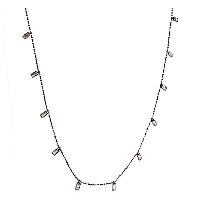 NECKLACE BLACK SILVER BAGUETTES