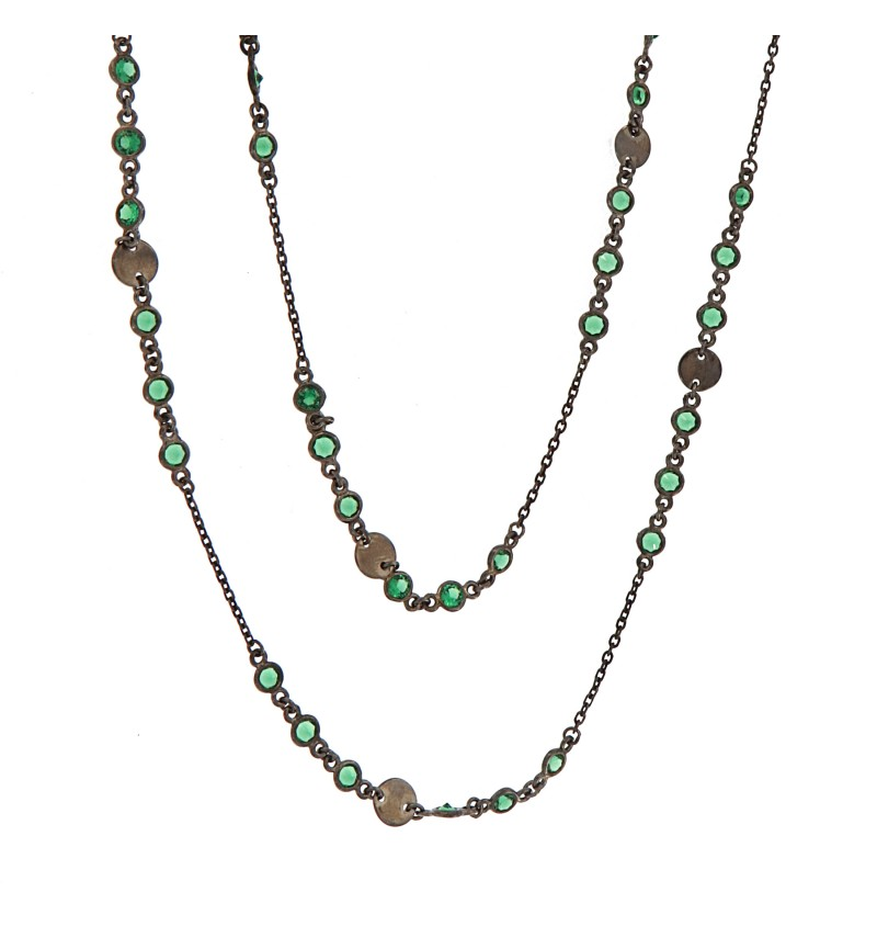 NECKLACE COINS AND DEEP GREEN STONES