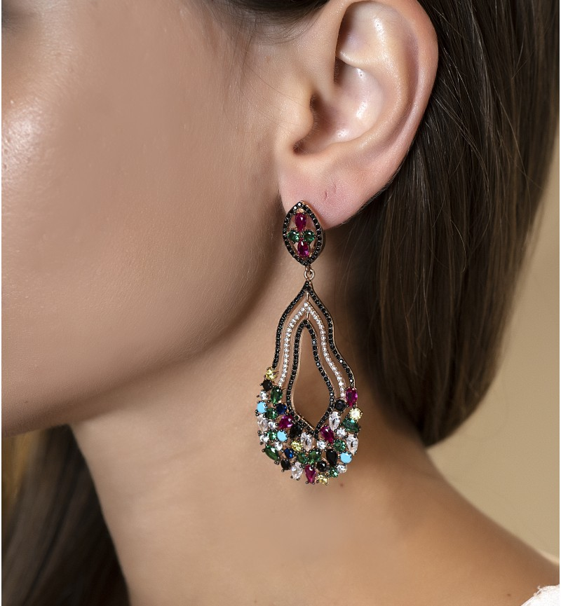 EARRINGS GLAM MULTI STONES