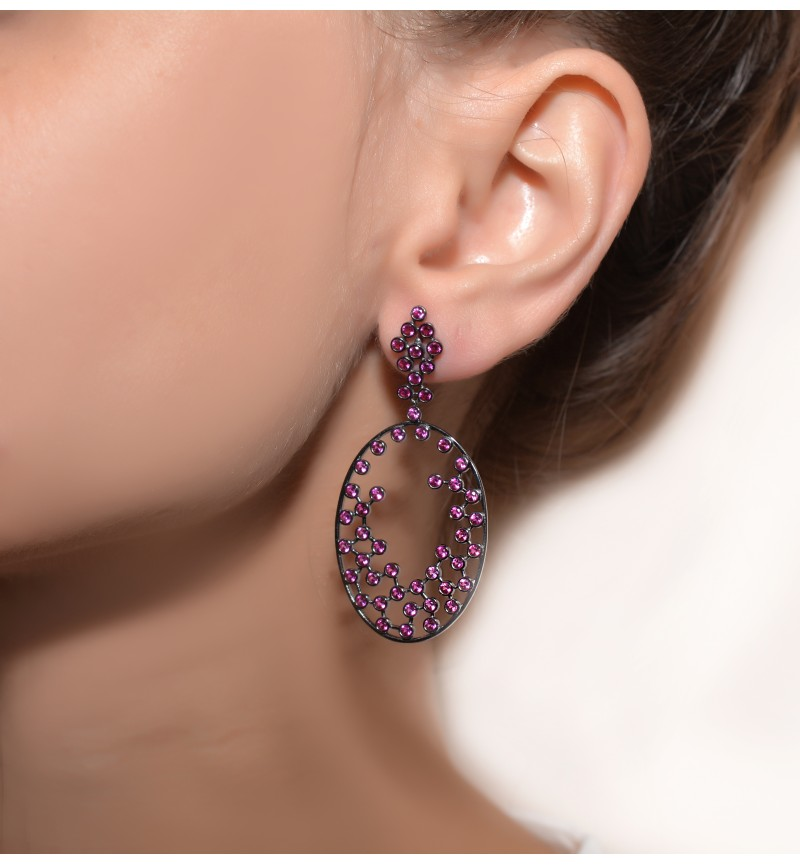 Earrings purple zircon