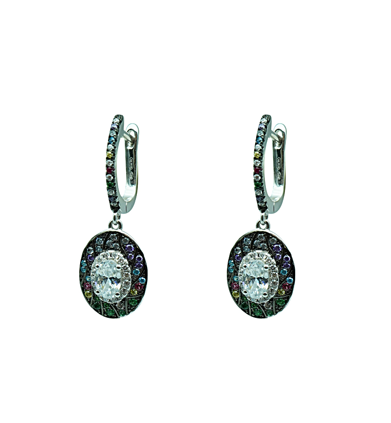 Earrings silver colorful zircon