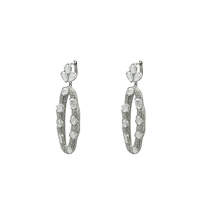 Earrings oval white zircon