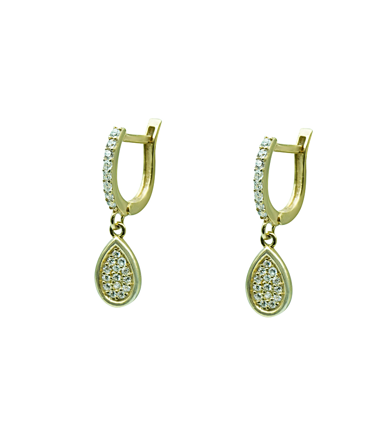 Earrings silver yellow tears zircon