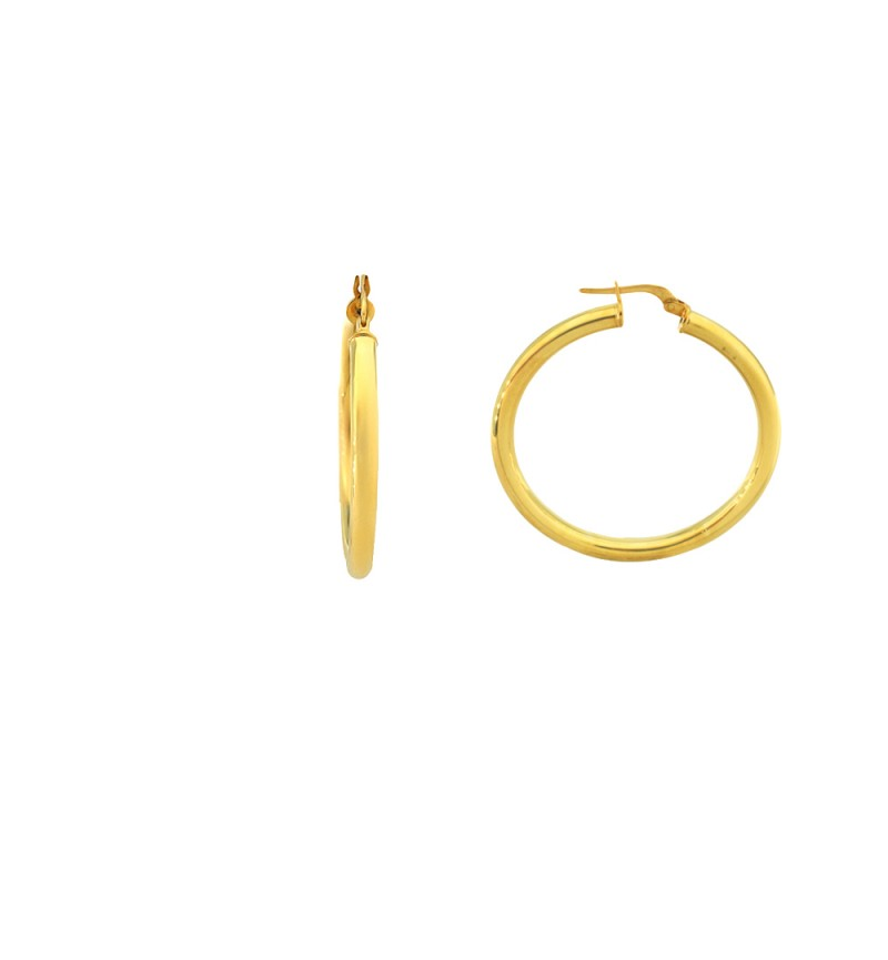 EARRINGS GOLD PLATED HOOPS 4.5CM