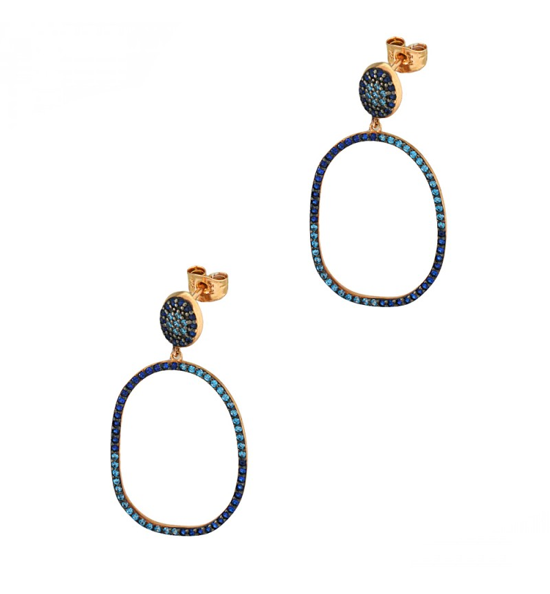 Earrings with blue stones