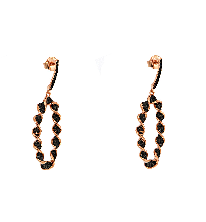 EARRINGS ROSE BLACK HELIX