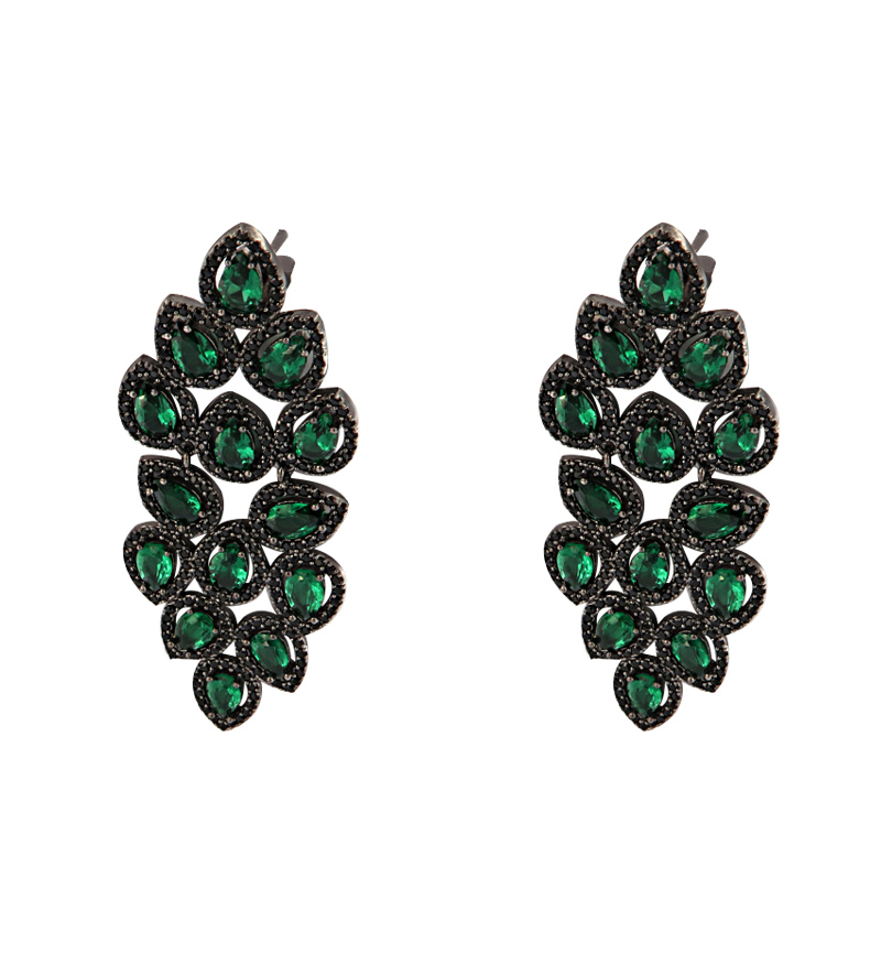 EARRINGS GREEN LEAF