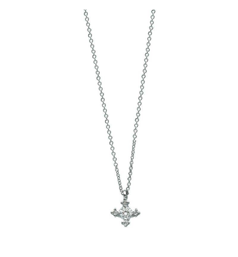 Necklace white gold diamond star