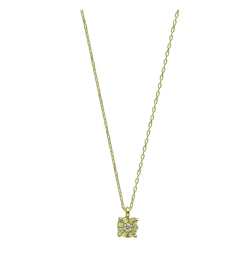 Κολιέ yellow gold diamond flower