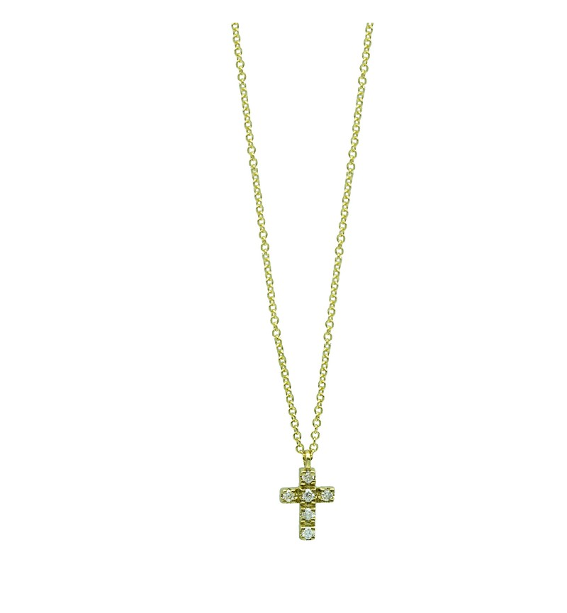 NECKLACE YELLOW GOLD CROSS DIAMOND 49