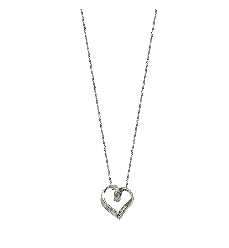 NECKLACE WHITE GOLD DIAMOND HEART