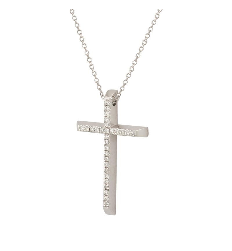 NECKLACE WHITE GOLD CROSS 60