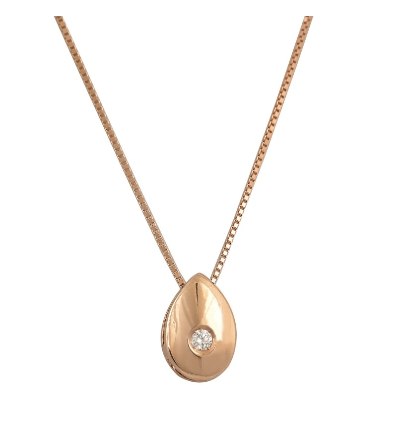 ΚΟΛΙΕ ROSE GOLD BRILLANT DROP