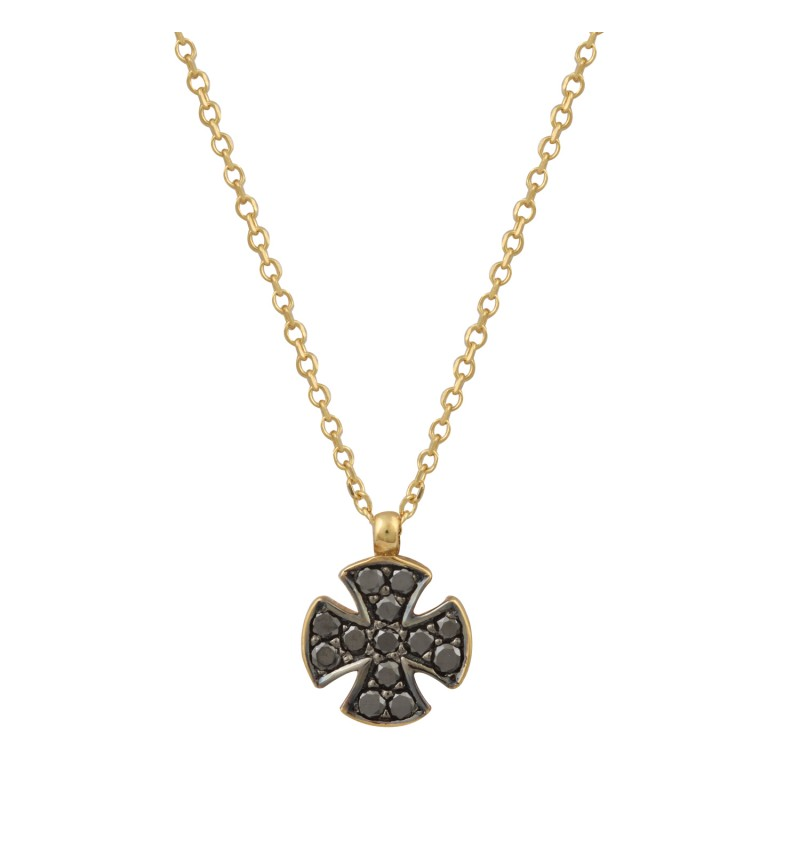 NECKLACE GOLD CROSS MALTAS DIAMONDS 2023