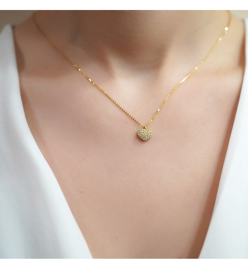 Necklace heart brilliant yellow gold