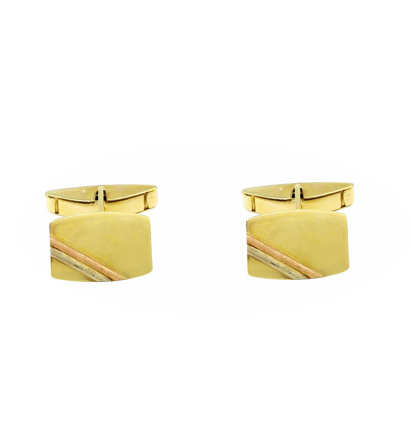 Gold cufflinks with double line