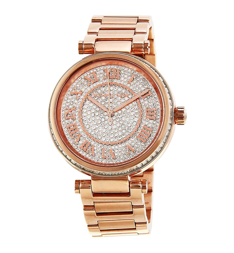 Michael Kors Skylar Crystals Three Hands Rose Gold Stainlees Steel Bracelet MK5868