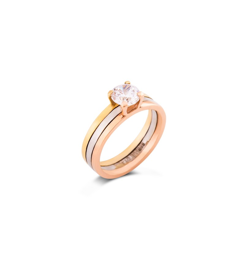 SOLITAIRE RING THREE COLORS OF GOLD