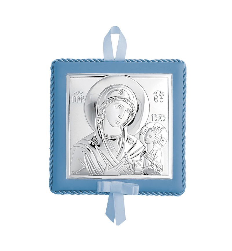 SILVER ORTHODOX ICON MADONNA FOR BABY BOY MA-DM652-LC