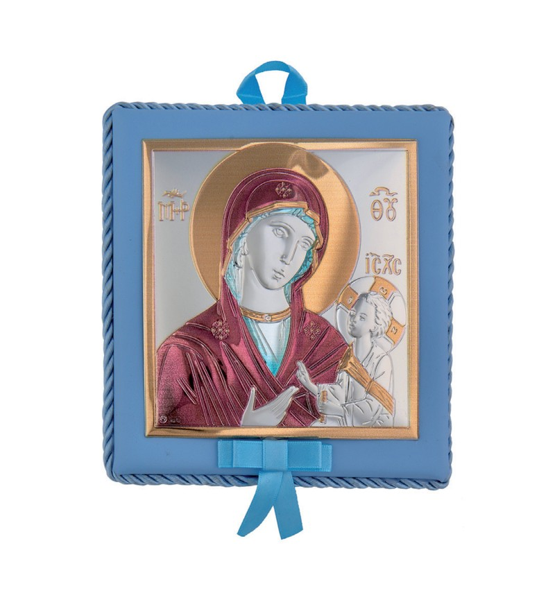 SILVER ORTHODOX ICON MADONNA FOR BABY BOY MA-DM652-LCC