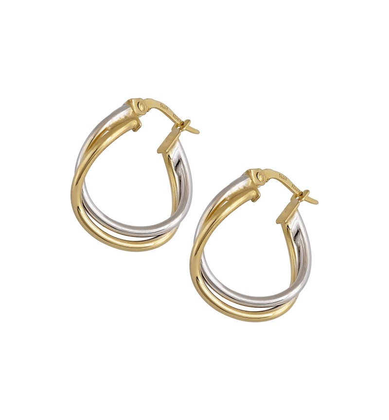 CURLING DOUBLE EARRINGS WHITE GOLD