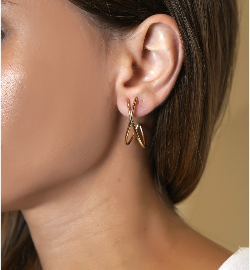 """EARRINGS GOLD CURVED """"X"""""""