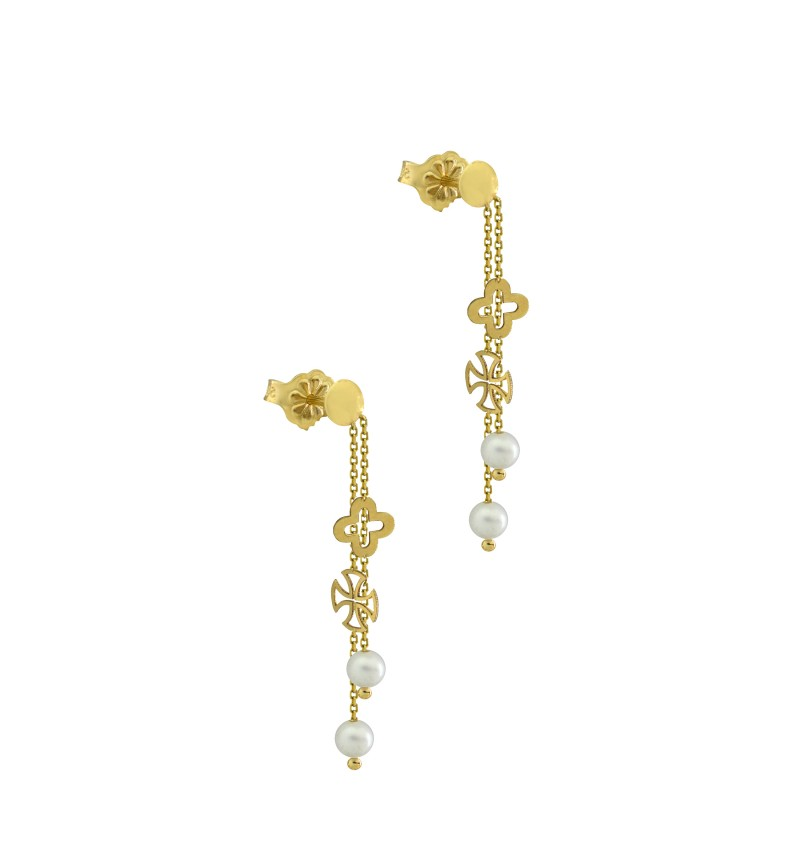 Earrings with cross and pearls